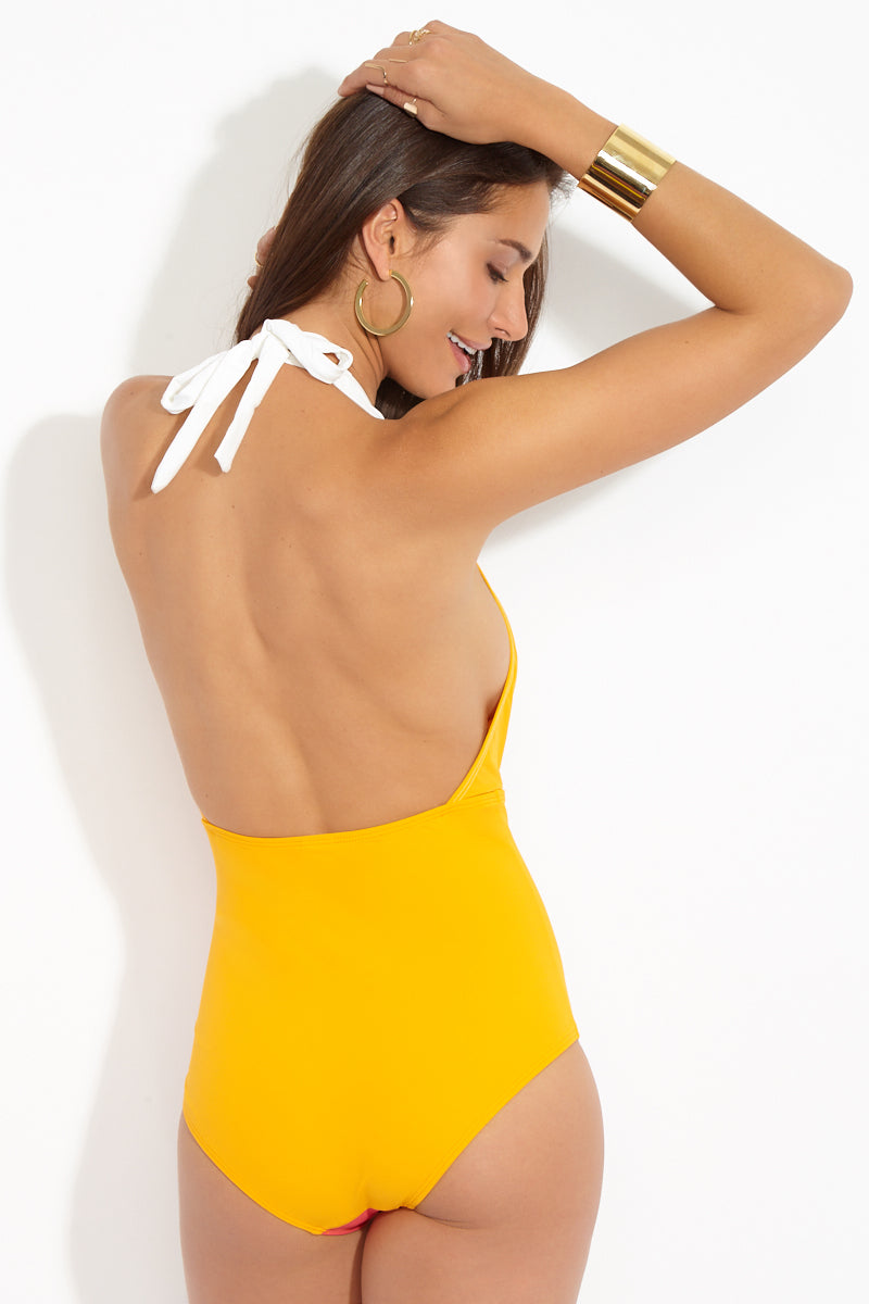 FLAGPOLE Jade Plunging One Piece - Tangerine/Strawberry/Pearl One Piece | Tangerine/Strawberry/Pearl|Flagpole Jade Plunging One Piece Back View Halter one piece swimsuit with deep plunging v-neckline. Adjustable thick halter ties at neck. Color block design in white, strawberry red, and tangerine orange. Mid-rise leg cut, low open back. Moderate to full coverage.