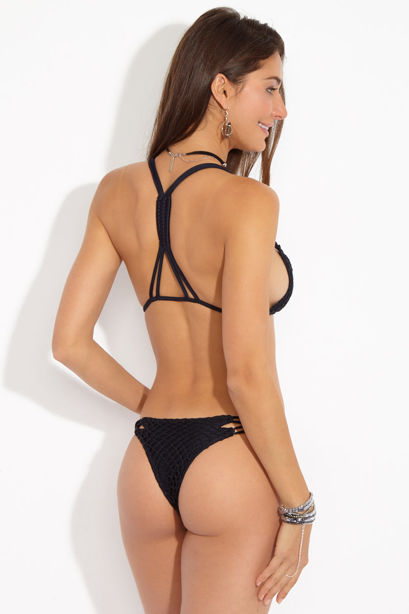Molokini Crochet Strappy Low Rise Bikini Bottom - Black Beauty