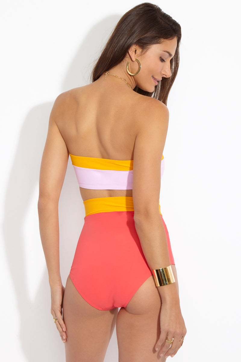 FLAGPOLE Lori Bandeau Top - Strawberry/Tangerine/Rose Bikini Top | Strawberry/Tangerine/Rose| Flagpole Lori Bandeau Top back view Strapless bandeau bikini top. Color blocked in tangerine citrus and light pink rosé. Pullover design. Fully lined in microfiber fabric. SPF 50.