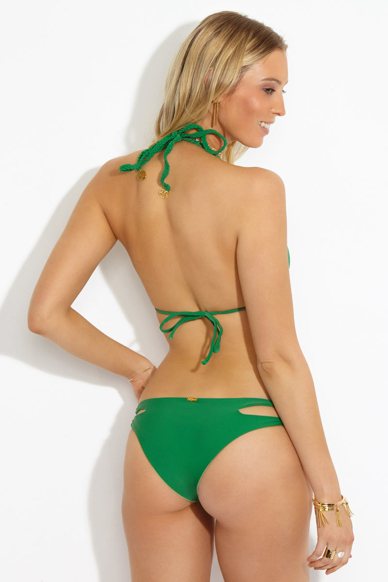Zig Zag Reversible Side Cut Outs Bikini Bottom - Palma Green/ Gold