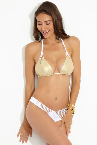 LULI FAMA Reversible Zig Zag Knotted Cut Out Triangle Top - White Bikini Top | White| Luli Fama Reversible Zig Zag Knotted Cut Out Triangle Top Gold Front View Seamless Reversible Triangle Bikini Top Kelly White Side Glittery Gold Side Knotted Cut Out Design at Bust Adjustable Braided Halter String Ties Adjustable Ties at Back