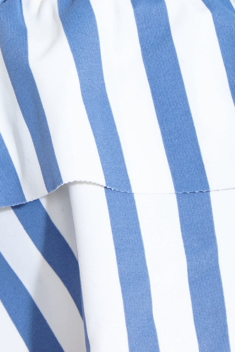 AMUSE SOCIETY Emma Bralette Top - French Blue Bikini Top | French Blue|Emma Bralette Top Detail View - Features:  Off the shoulder bikini top Flounce ruffle bandeau Blue light blue striped Inner bralette with elastic rubber