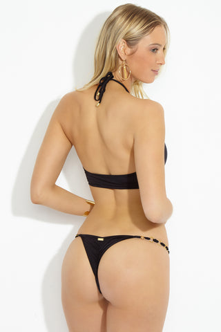 BEACH BUNNY Ireland High Neck Top - Black Bikini Top | Black| Ireland High Neck Top Back View Black Ireland high neck top Key hole cut outs with strappy string with ring hard ware Adjustable halter neck
