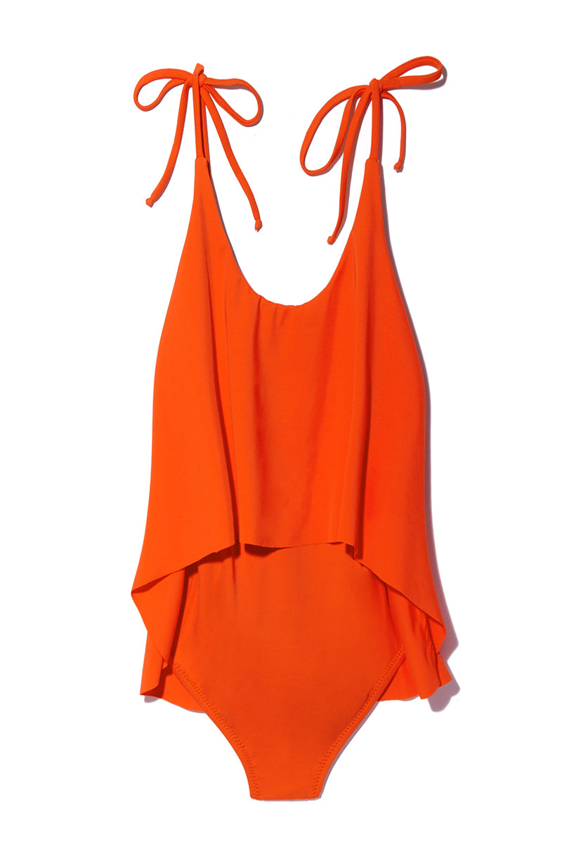 MANTA Rio Maillot - Tiger Lily One Piece | Tiger Lily| Rio Maillot Flat Lay View Vibrant Orange One Piece Swimsuit Adjustable Convertible Halter Ties Scoop Neckline Flounce Overlay Scoop Back Moderate Coverage