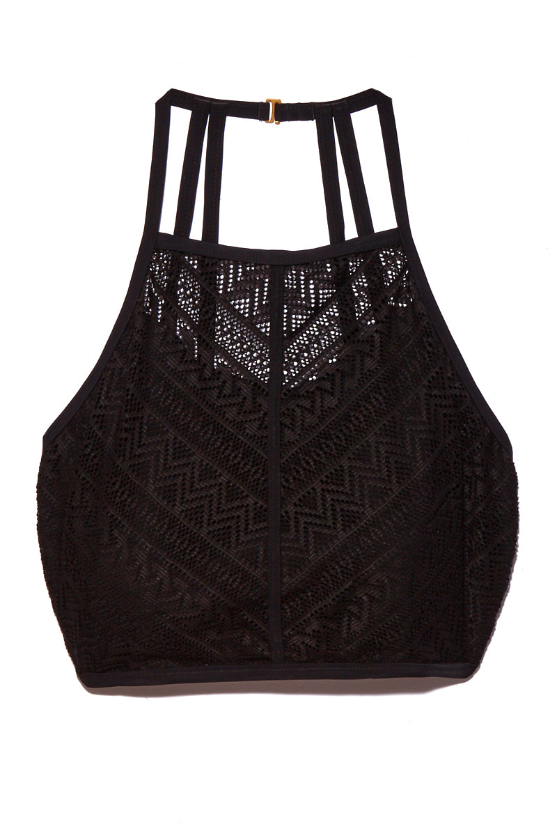 Morgan High Neck Lace Bikini Top (Curves) - Midnight