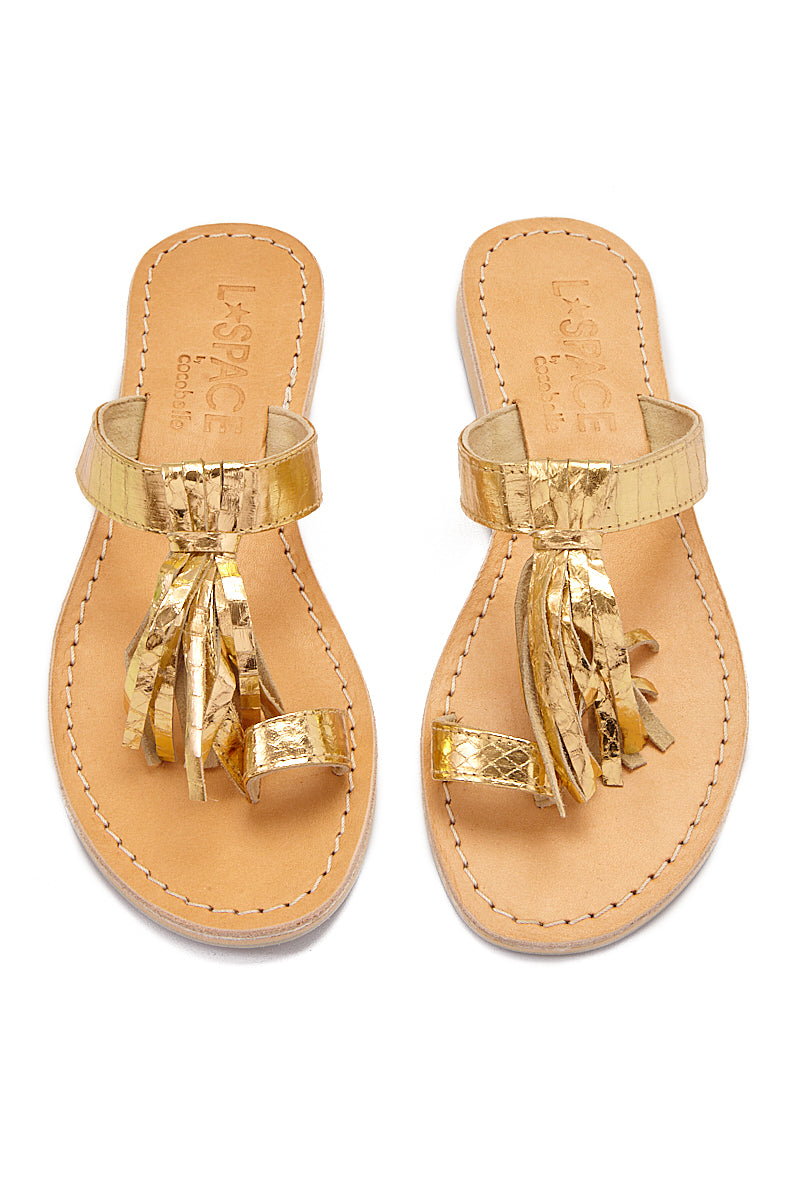 Fringe Toe Ring Sandals  - Gold