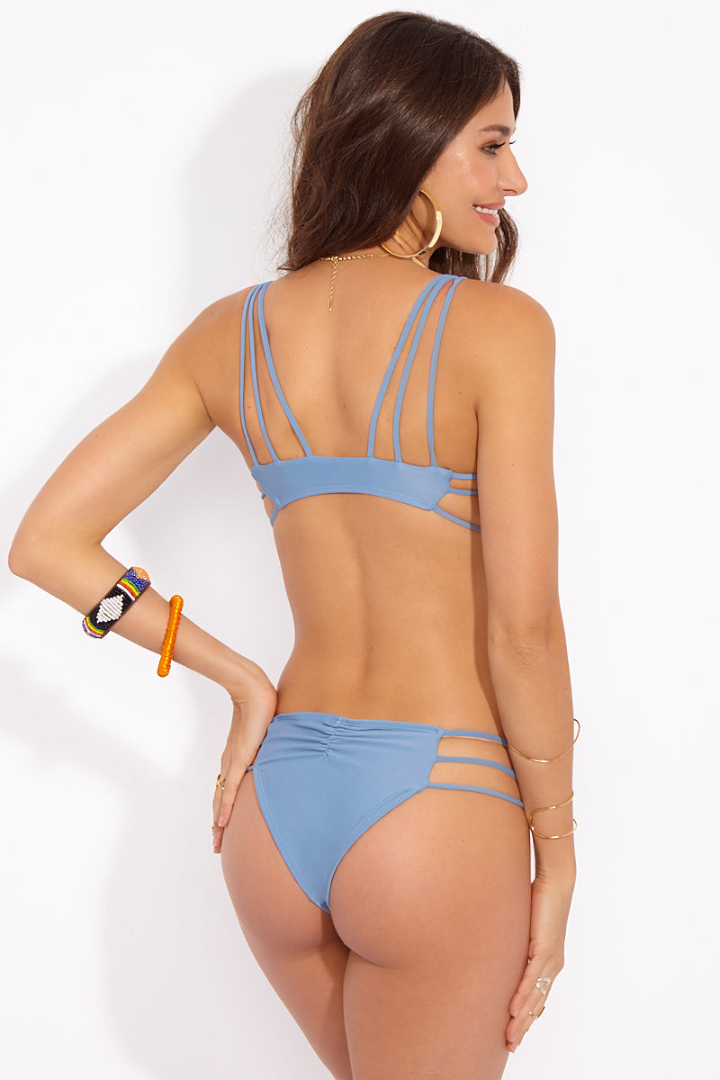 Reina Strappy Side Bikini Bottom - Sea