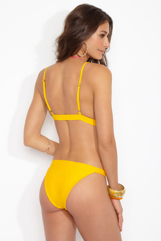 BLACK BEACH Rutherford Moderate Bottom - Gold Bikini Bottom | Gold|Rutherford Moderate Bottom Features:  Yellow classic bikini bottom Cheeky coverage Mid rise  Vibrant gold yellow color