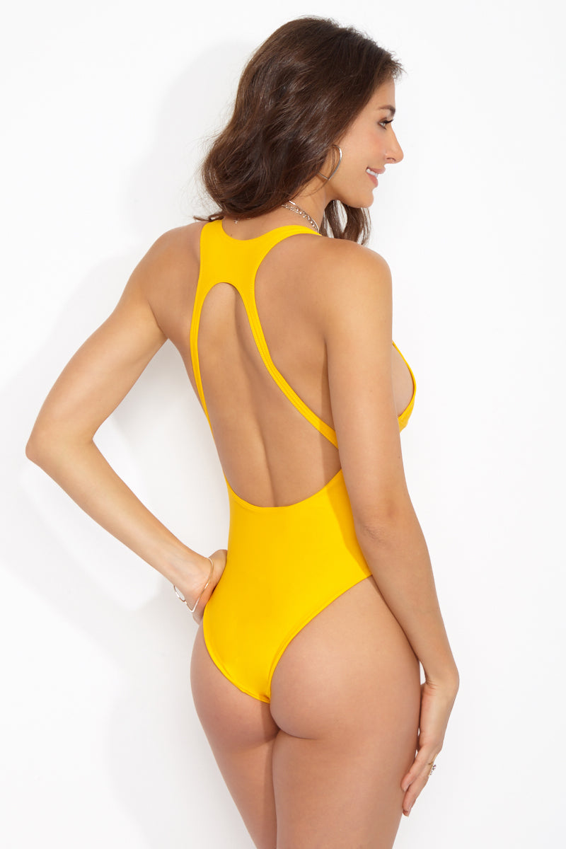 BLACK BEACH Westside Clasp Front One Piece - Gold One Piece | Gold|Westside Clasp Front One Piece Features:  Yellow plunging one piece swimsuit Scoop low back with strappy detail Clasp at front Cheeky bottom coverage