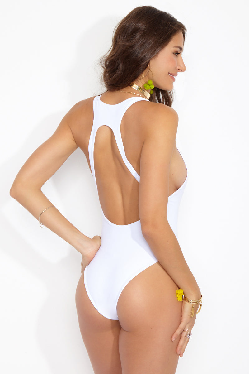 BLACK BEACH Westside Clasp Front One Piece - White One Piece | White|Westside Clasp Front One Piece Features:  White plunging one piece swimsuit Scoop low back with strappy detail Clasp at front Cheeky bottom coverage