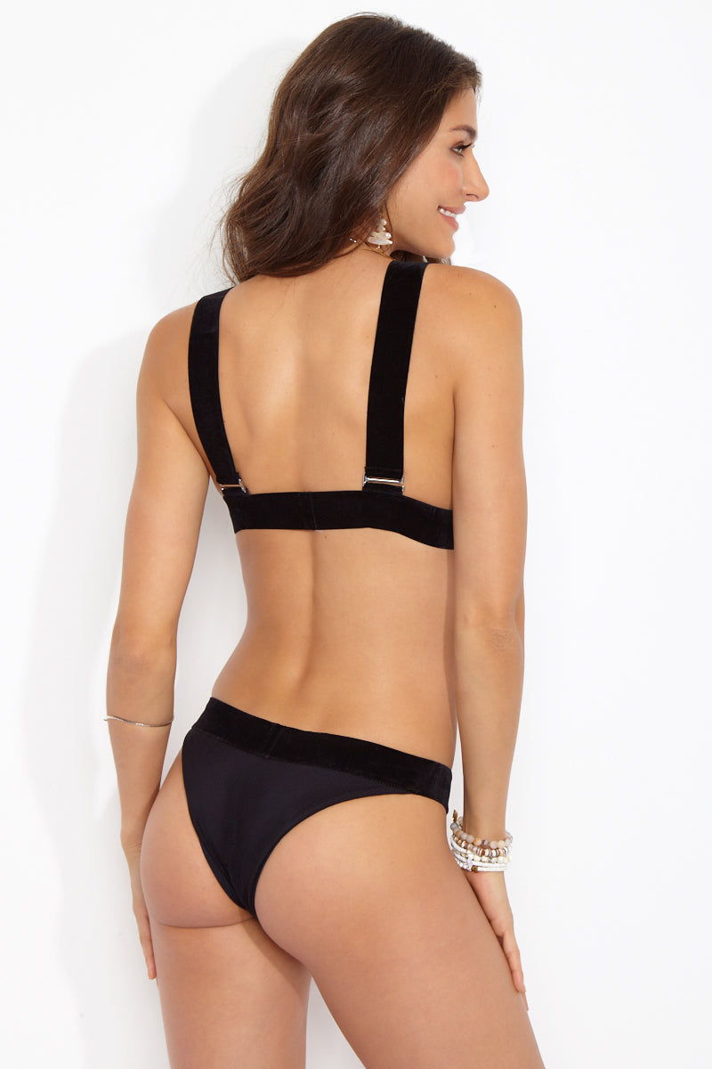 The Charli Velvet Cheeky Bikini Bottom - Noir Black