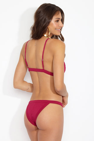 FELLA Louis The III Top - Magenta Bikini Top | Magenta|Louis The III Top Features:  Magenta red Italian Textured Lycra Triangle style top with adjustable thin strap FELLA clasp at front This is a best selling essential to every g