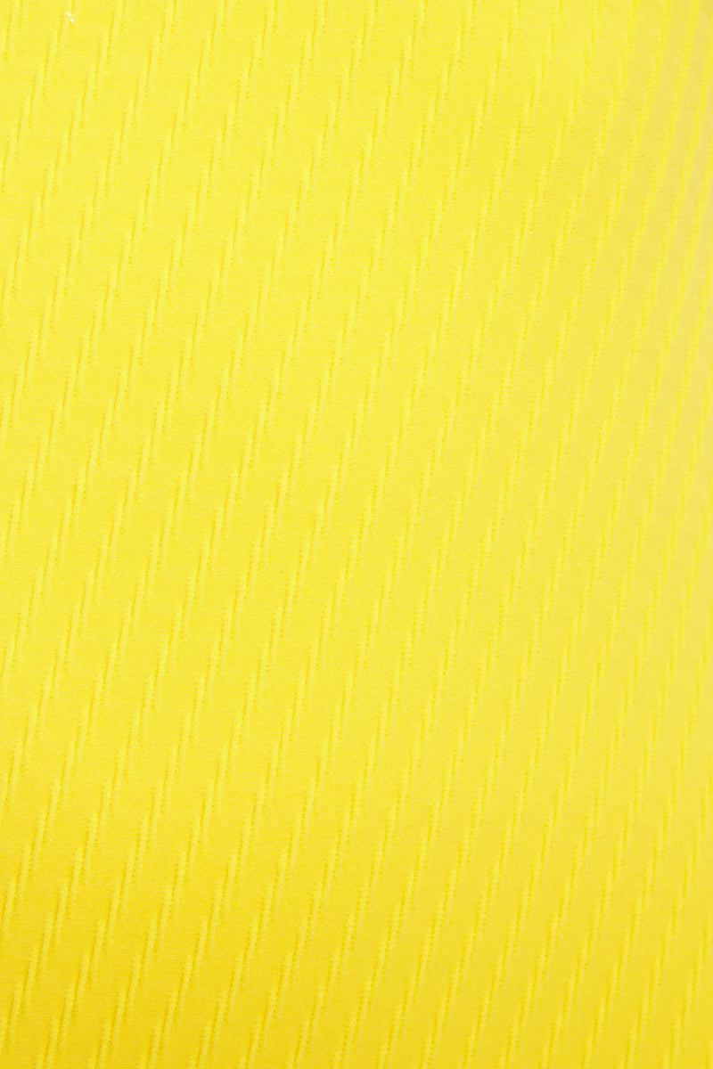 FELLA Sebastian One Piece - Yellow One Piece | Yellow|Sebastian One Piece Detail View Features:  Italian Textured Lycra Plunging triangle neckline with thin adjustable straps Underwired support Perfect to wear from day to night as a bodysuit under shorts or a skirt Cheeky bum Fits true to size