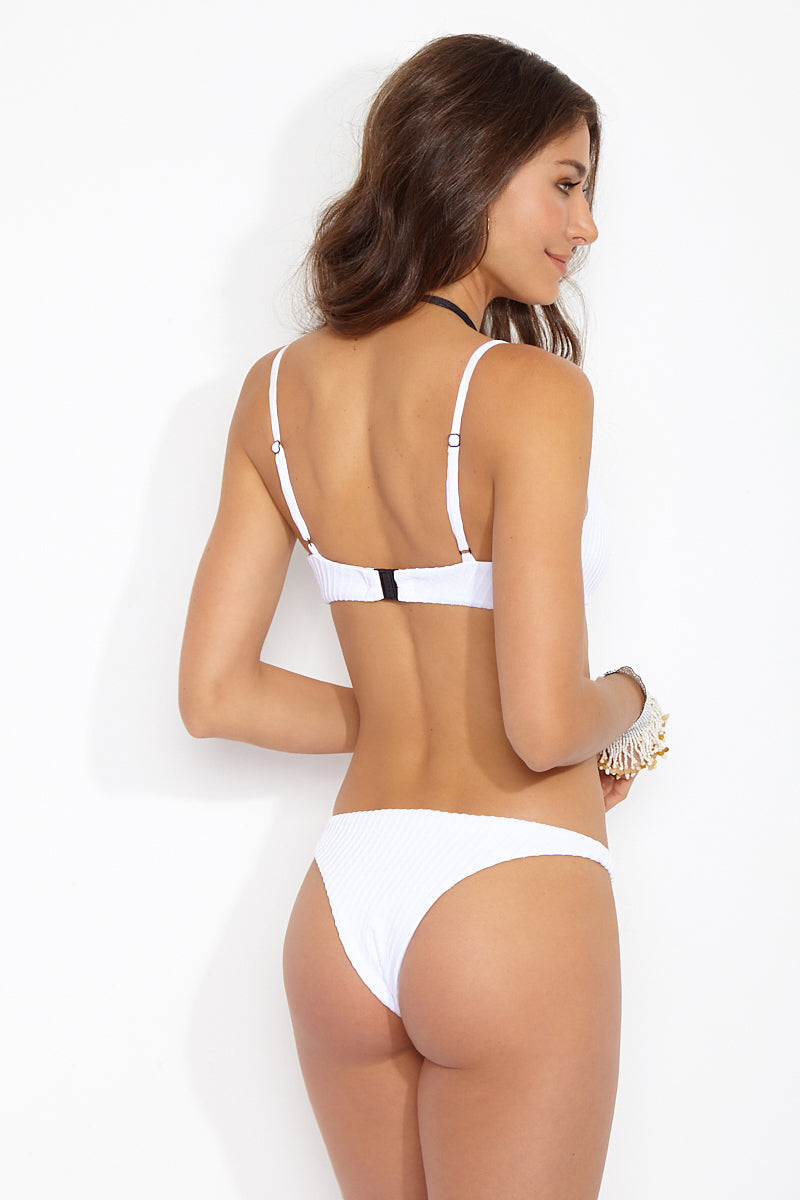 FELLA Mr Smith Bottom - White Bikini Bottom | White|Mr Smith Bottom Back View Features:  Italian Textured Lycra Thin side low cut cheeky bottom The perfect tanning bottom for girls who want a side thinner than the Sean