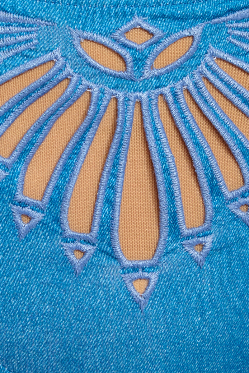 BEACH RIOT Penny Top - Denim Bikini Top | Denim| Beach Riot Penny Top - Denim Close Up Detail View Square neckline  Laser Cut Detail on Front   Adjustable spaghetti straps Back hook closure Poly/Spandex blend Hand wash cold; lay flat to dry Made in the USA