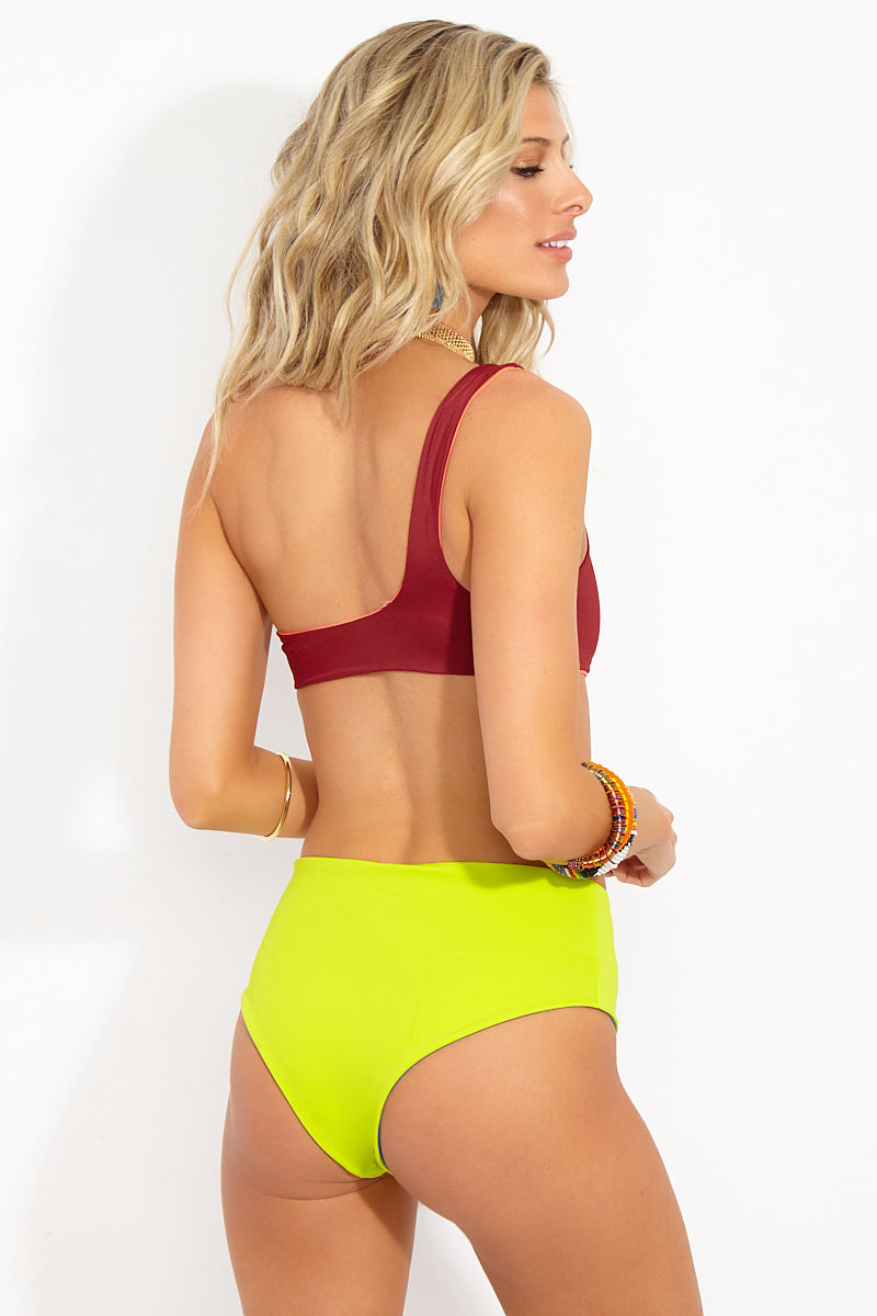 The Isabeli High Waisted Bikini Bottom - Jewels Neon