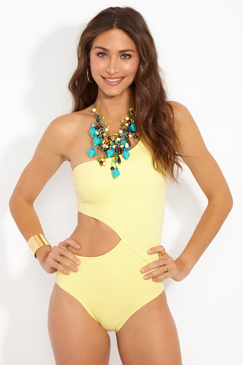 The Claudia Asymmetric Cut-Out One Piece Swimsuit - Pastel Yellow