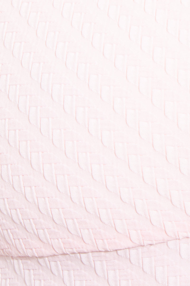SOLID & STRIPED The Madison Top - Pink Basket Weave Bikini Top | Pink Basket Weave| Solid & Striped The Madison Top - Pink Basket Weave Close Up View