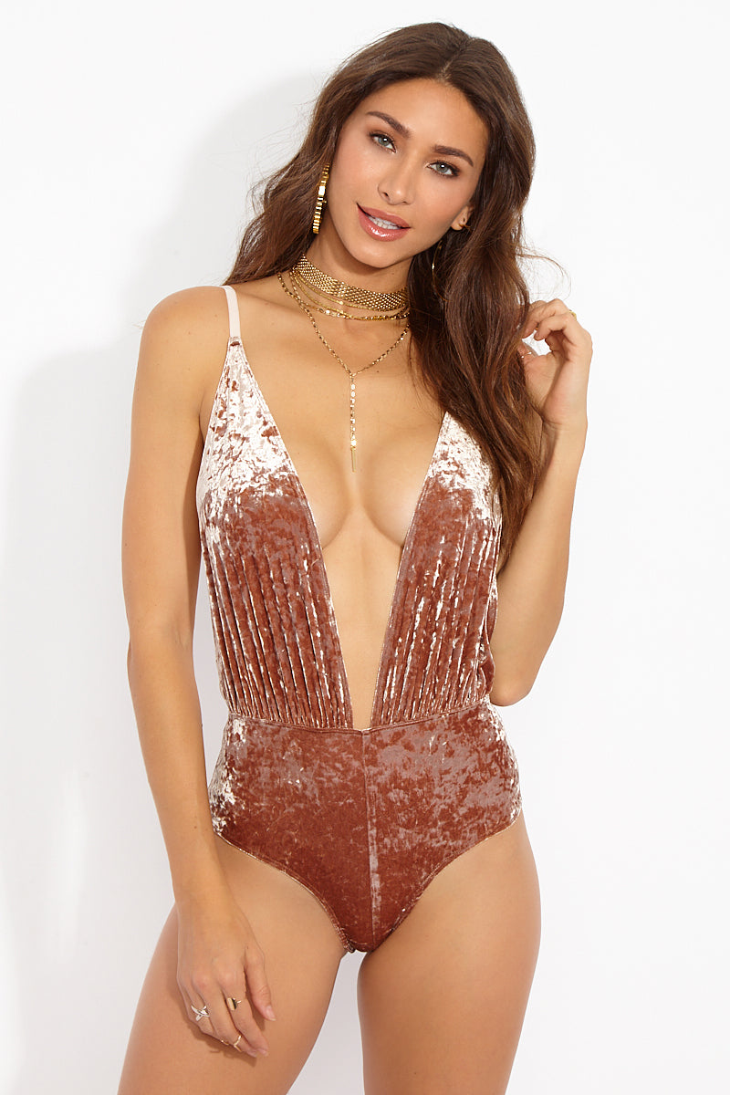 Comin' In HAHt Plunging Velvet Bodysuit - Cafe Latte Brown
