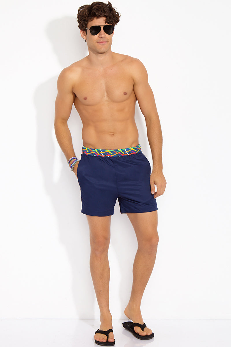 Ula Classic Length Swim Trunks - Ocean Blue Pop Art