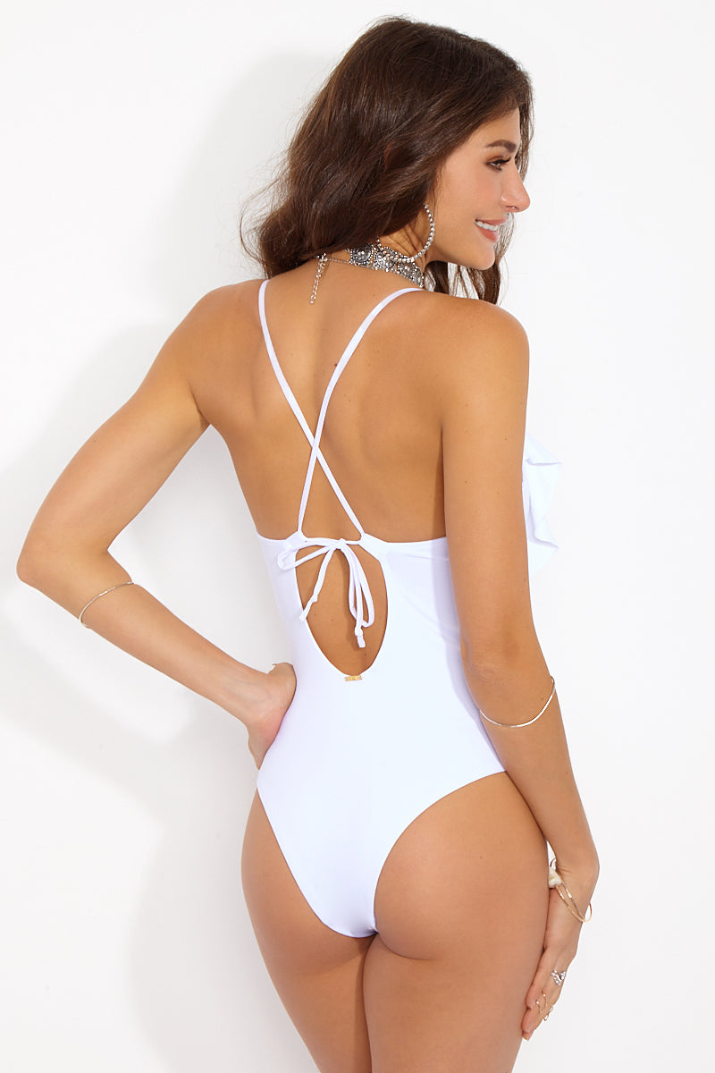 44a87177dfc ... MAYLANA Emilie Deep V Ruffle One Piece Swimsuit - White - undefined  undefined