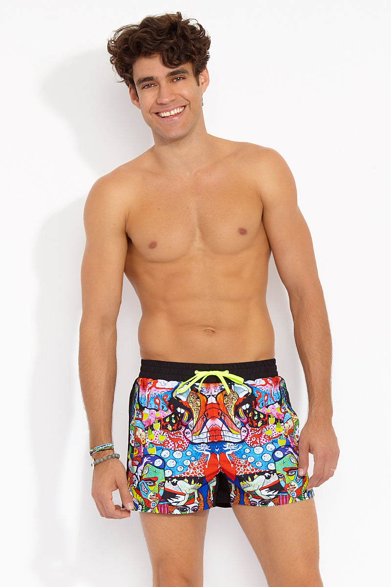 Runner Square Cut Swim Trunks - Graffiti Multicolor Print