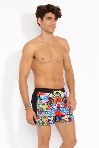 "J.LIN Runner Square Cut Swim Trunks - Graffiti Multicolor Print Mens Swim | Graffiti Multicolor| J. Lin Runner Square Cut Swim Trunks - Graffiti Multi Color. Front Side View. Shorter-length  Printed front panel  Two front forward seam pockets Back snap-fastening flap pocket  Elastic waistband  Drawstring with white mesh lining  Loose fit leg opening  100% Polyester  Model wears a M. Model measures 34"", height 6'1""/185cm."