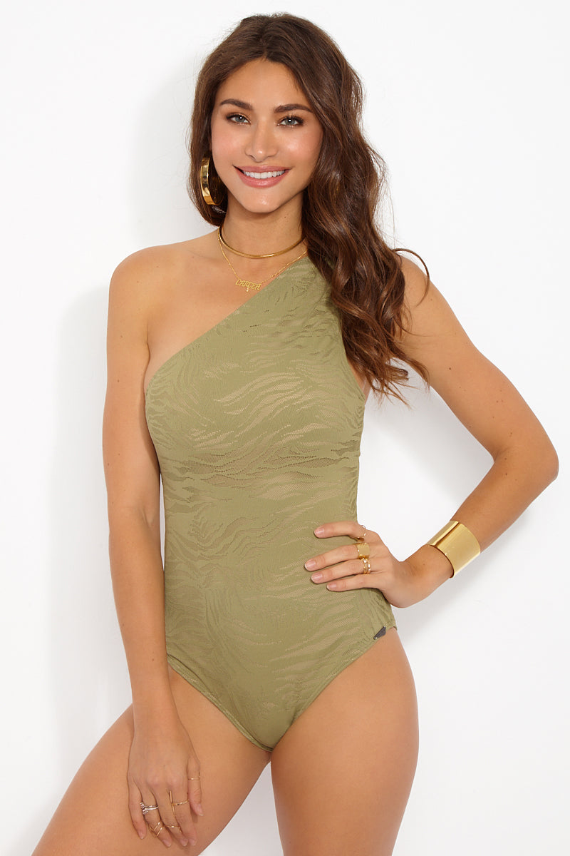South Beach One Shoulder One Piece Swimsuit - Taupe Zebra Print