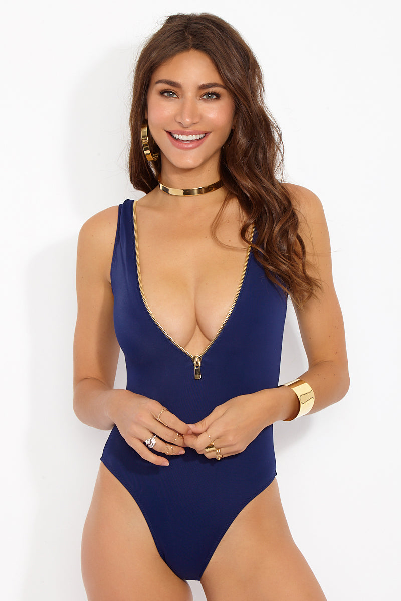 Lea Sporty Deep V One Piece Swimsuit - Navy