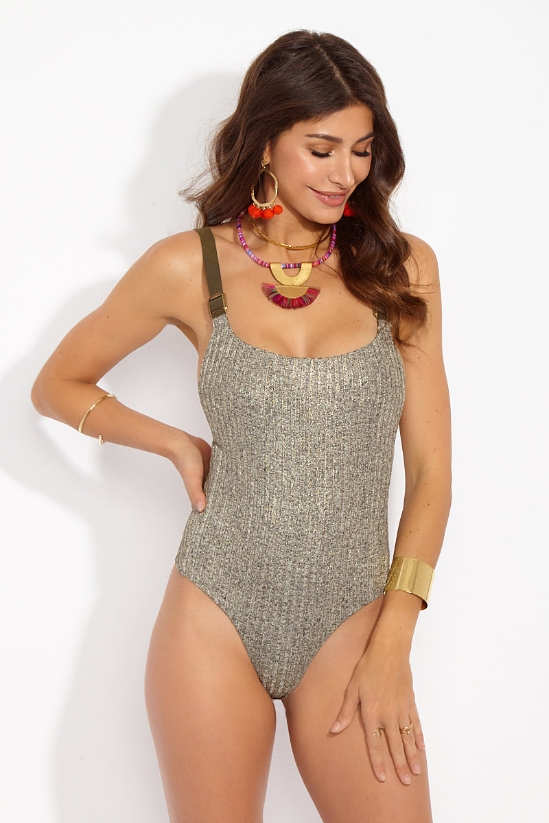 Buckled Ribbed Overall One Piece Swimsuit - Tarnished Gold