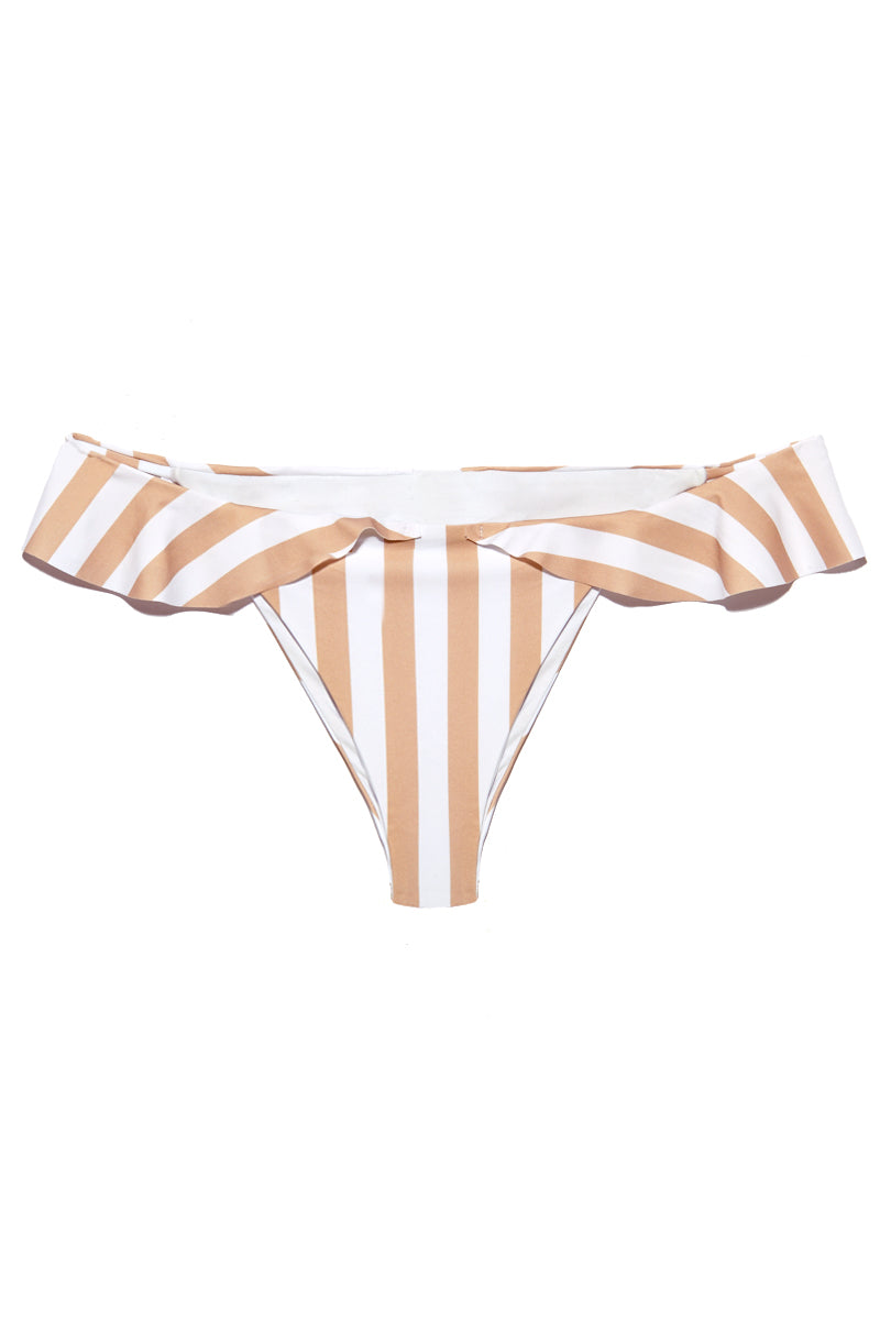 Brandi Ruffle Cheeky Bikini Bottom - Tan & White Stripes Print