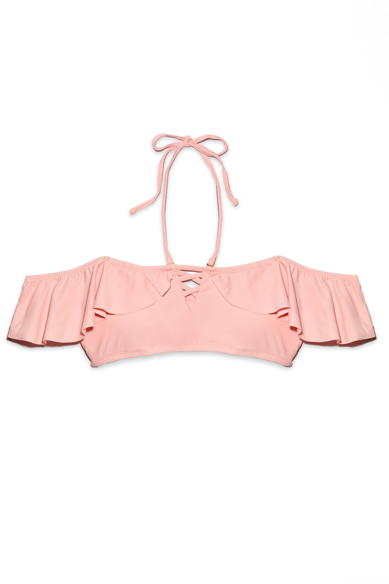 Tulum Off Shoulder Ruffle Bandeau Bikini Top - Bubblegum Pink