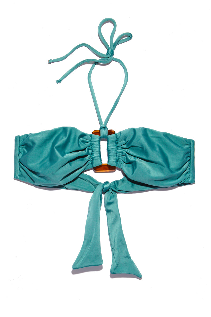 ADRIANA DEGREAS Bandeau With Buckle Top - Blue Heritage Bikini Top | Blue Heritage|Bandeau With Buckle Top - Features:  Bandeau style bikini top Keyhole cutout with buckle hardware at middle String tie halter neck Adjustable neck and back  Tropical teal color