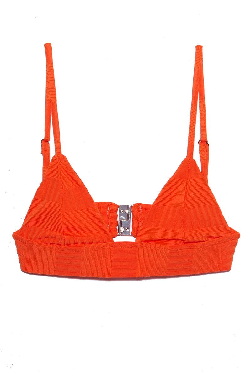 ELLEJAY Anna Textured Triangle Top - Orange Bikini Top | Orange| Ellejay Anna Textured Triangle Top - Orange Flat Lay View  Classic Triangle Top Thick Bra Band  Adjustable Shoulder Straps Clasp Back Closure  Rich Textured Fabric 80% Nylon 20% Spandex Made in the USA Hand Rinse, Dry In Shade