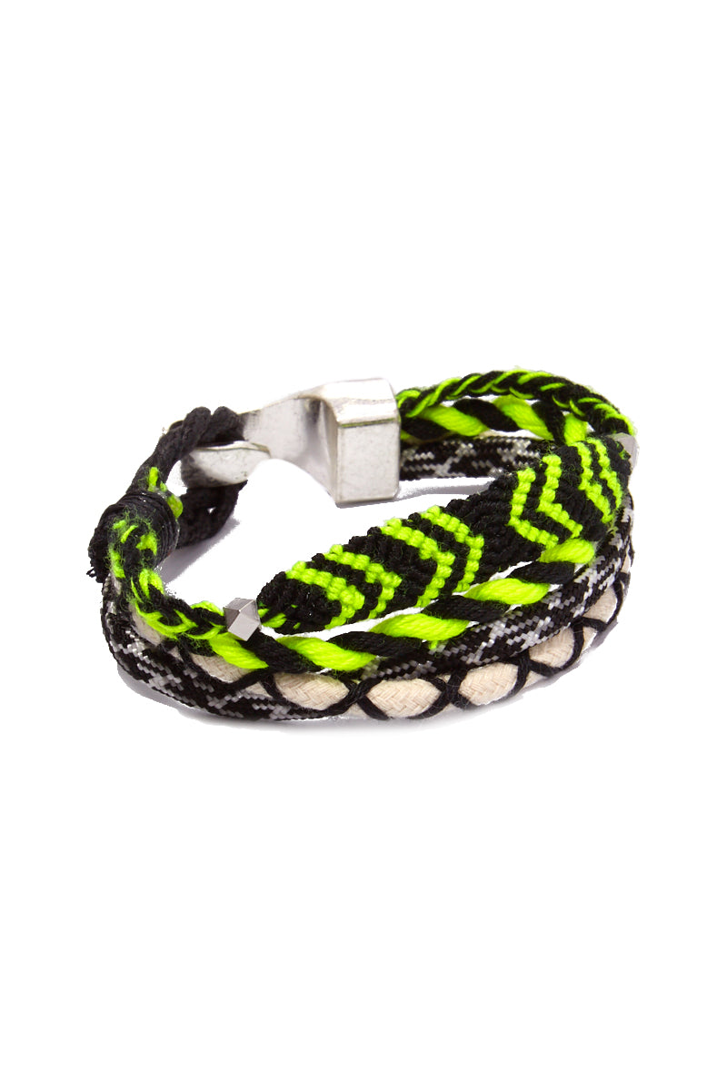 Tom Bracelet (Men's) - Black/Neon Green