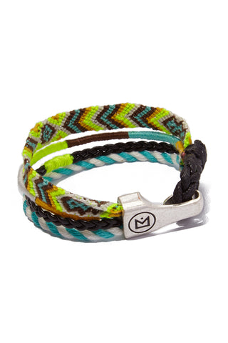 HIPANEMA AMENAPIH MEN Leo Bracelet (Men's) - Neon Yellow Jewelry | Neon Yellow| HIPANEMA AMENAPIH Leo Mens Bracelet - Neon Yellow Back View Turquoise & Neon Yellow  Bracelet  Hook Clasp Closure  Composed of woven cotton threads, faux leather link, and  braided cord Measurements: 20 cm