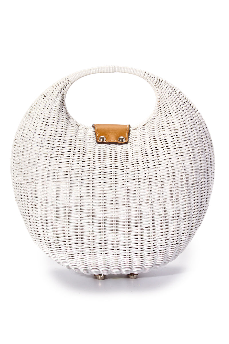 KAYU Elena Bag - White Bag   White  Kayu Elena Bag - White Full View Woven Wickered Bag  Leather Strap Closure  Magnetic Closure  Interior Pocket with Zipper Closure