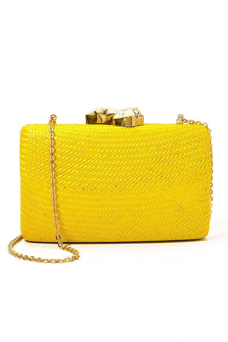 Jen Clutch With White Stone - Yellow