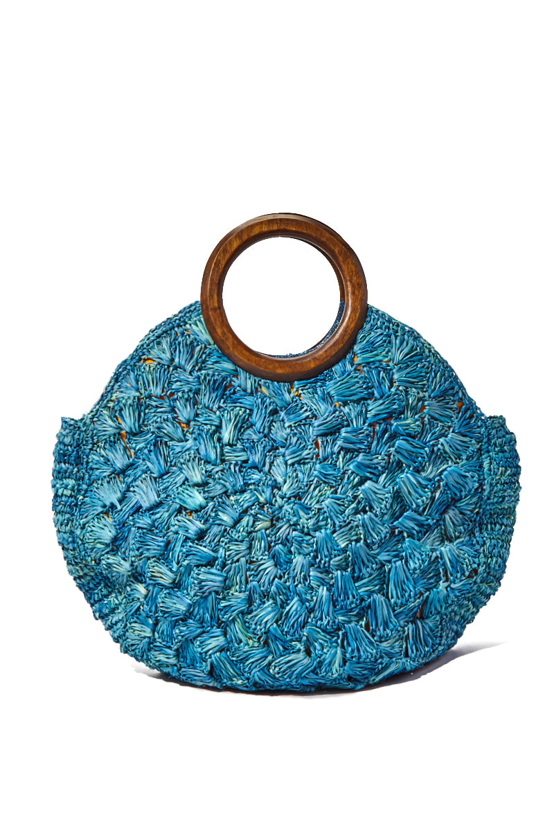 KAYU Coco Woven Tote w/ Wooden Handles - Blue Bag | Blue| Kayu Coco Woven Tote w/ Wooden Handles Front View