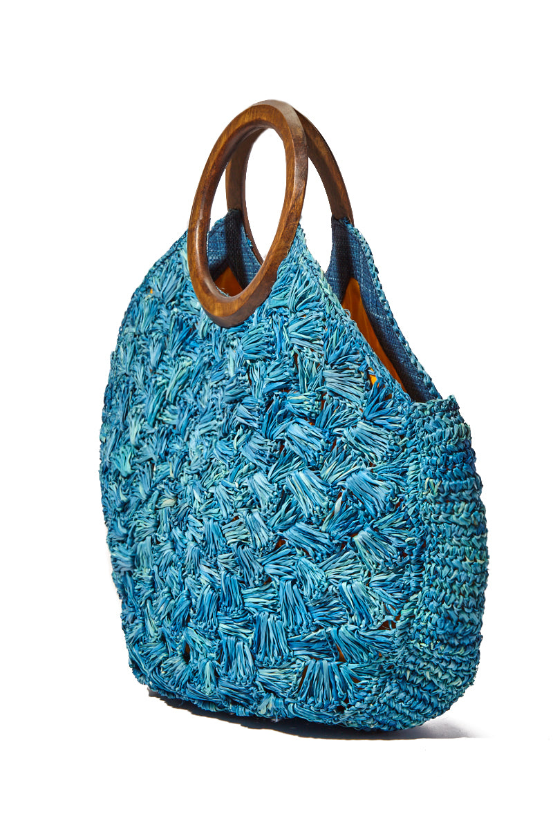 KAYU Coco Woven Tote w/ Wooden Handles - Blue Bag | Blue| Kayu Coco Woven Tote w/ Wooden Handles Side View