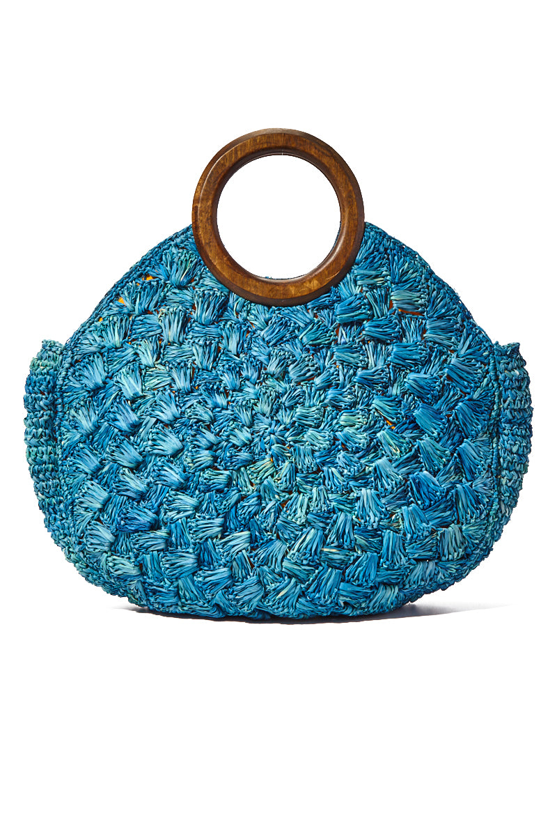 KAYU Coco Woven Tote w/ Wooden Handles - Blue Bag | Blue| Kayu Coco Woven Tote w/ Wooden Handles Back View