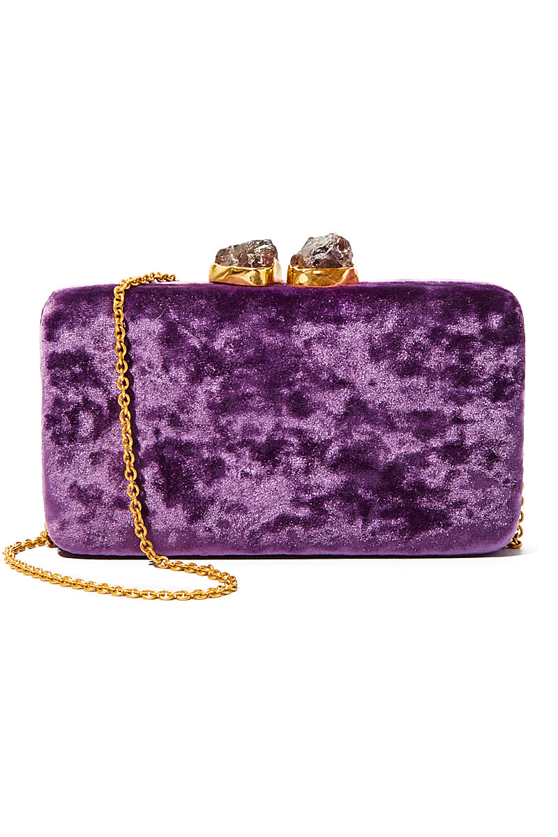 Velvet Margaux Clutch - Purple