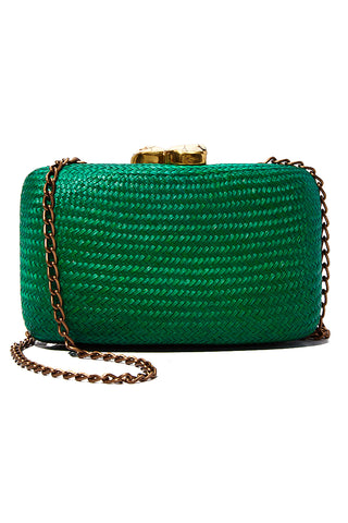 "KAYU Green Jen With White Stone Clutch Bag | Green| Kayu Green Jen With White Stone Clutch Front View  Straw clutch  Topped with glimmering white clasps  Features a drop-in chain strap. Easily fits standard size cellphone Measurements: 7.5""l x 2"" w x  4.5""h"