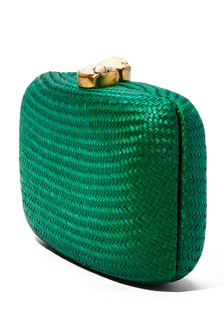 "KAYU Green Jen With White Stone Clutch Bag | Green| Kayu Green Jen With White Stone Clutch Side View  Straw clutch  Topped with glimmering white clasps  Features a drop-in chain strap. Easily fits standard size cellphone Measurements: 7.5""l x 2"" w x  4.5""h"