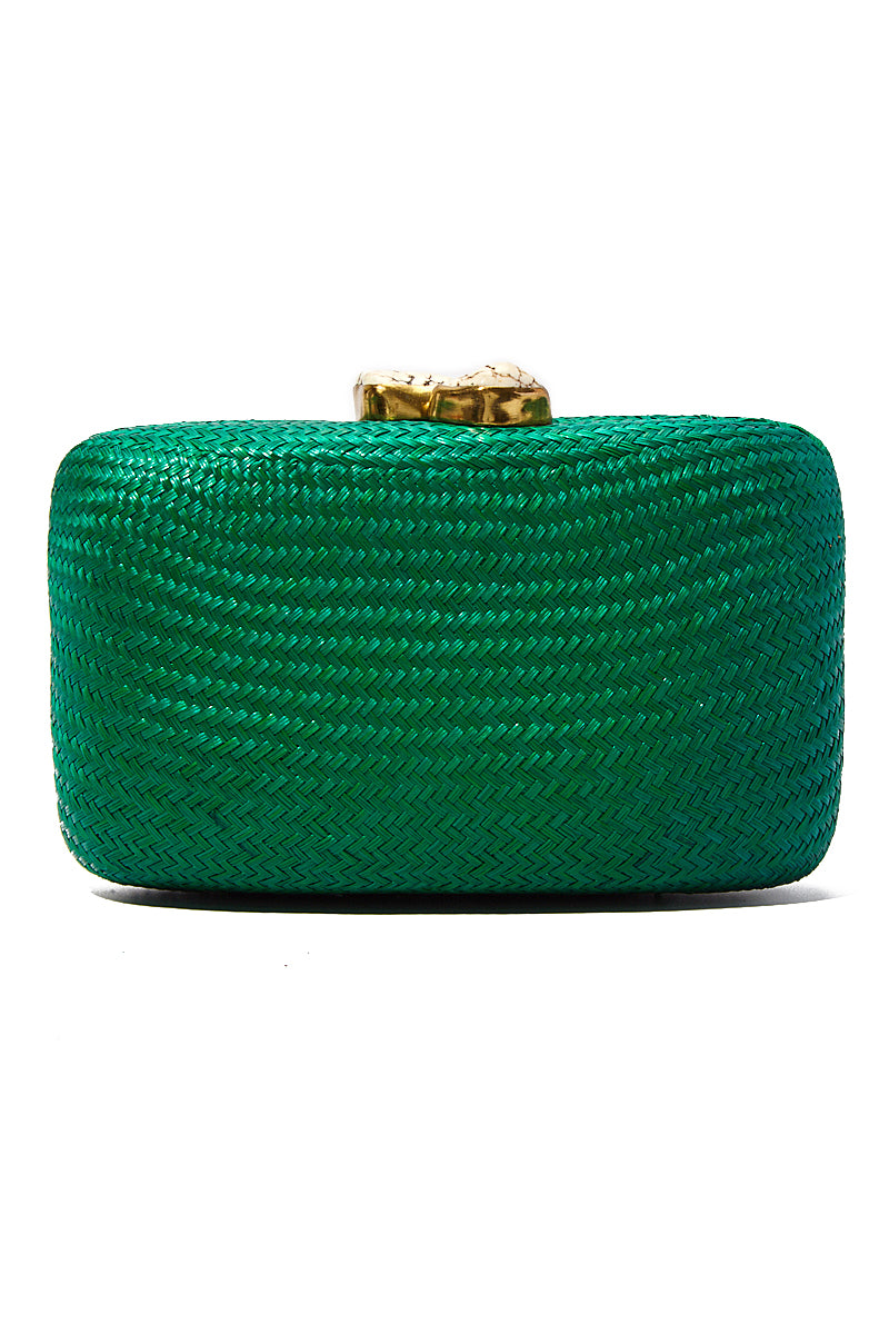 "KAYU Green Jen With White Stone Clutch Bag | Green| Kayu Green Jen With White Stone Clutch Back View  Straw clutch  Topped with glimmering white clasps  Features a drop-in chain strap. Easily fits standard size cellphone Measurements: 7.5""l x 2"" w x  4.5""h"