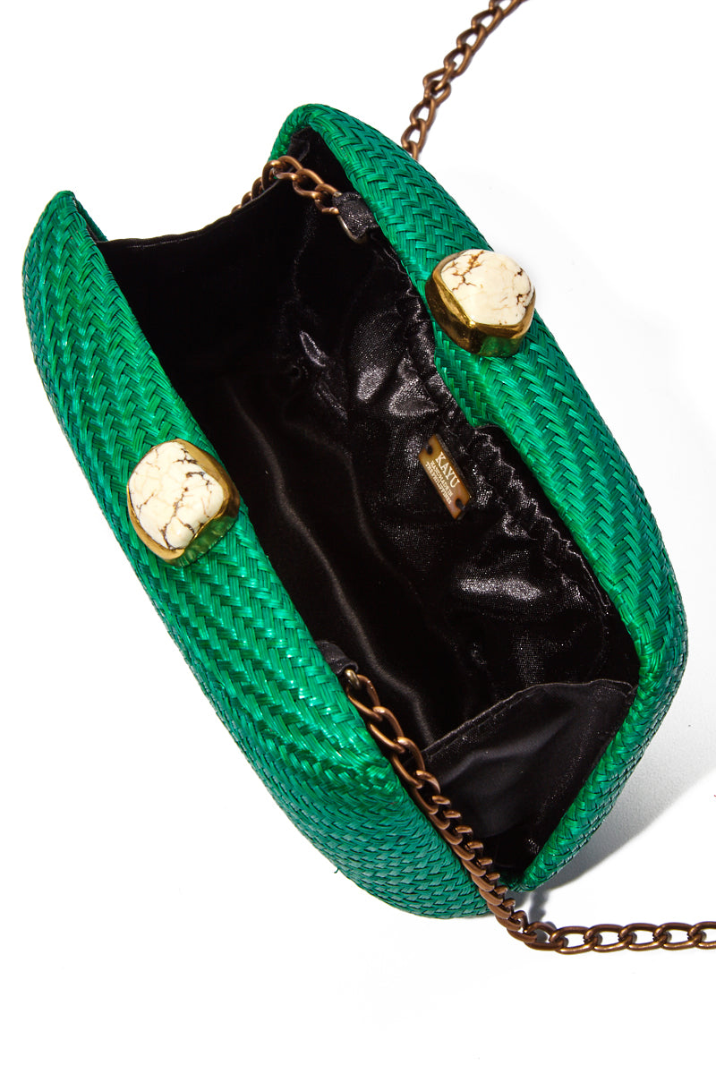 "KAYU Green Jen With White Stone Clutch Bag | Green| Kayu Green Jen With White Stone Clutch Open View  Straw clutch  Topped with glimmering white clasps  Features a drop-in chain strap. Easily fits standard size cellphone Measurements: 7.5""l x 2"" w x  4.5""h"