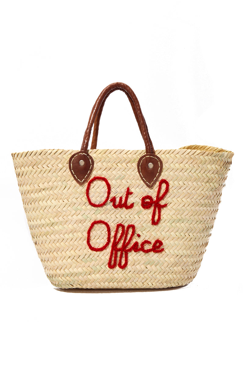 Classic Open Top Straw Tote - Out of Office