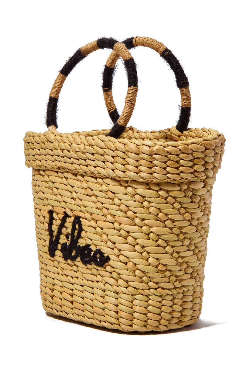 """POOLSIDE Mini Straw Tote - Vibes Bag 