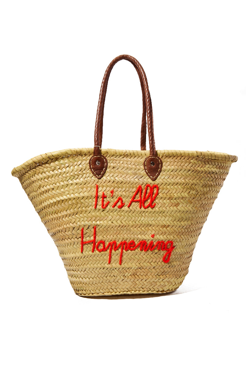 Long Handle Large Straw Tote - It's All Happening