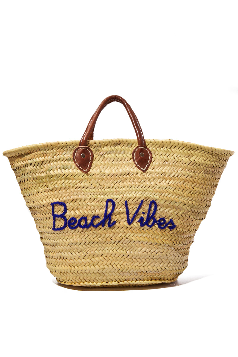 Large Straw Tote - Beach Vibes
